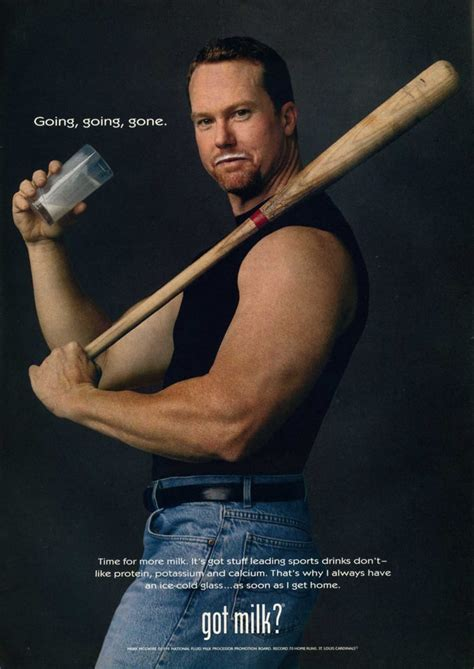 Former baseball player Mark McGwire posed with a bat for