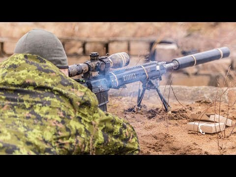 Beautiful Woman Soldier Sniper Rifle Stock Photos