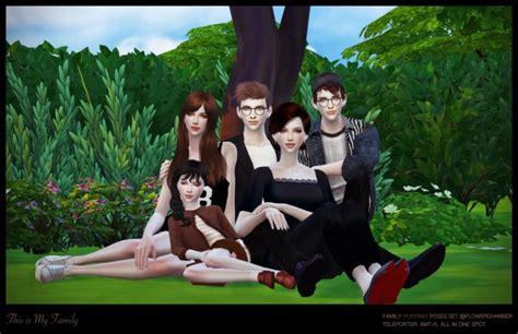 Flower Chamber: Family portrait poses set • Sims 4 Downloads