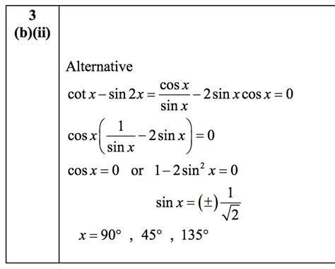 Solving Cot(x) - Sin(2x) = 0 - The Student Room