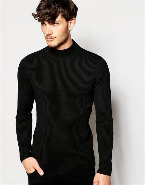 ASOS Synthetic Muscle Fit Turtleneck Ribbed Jumper In