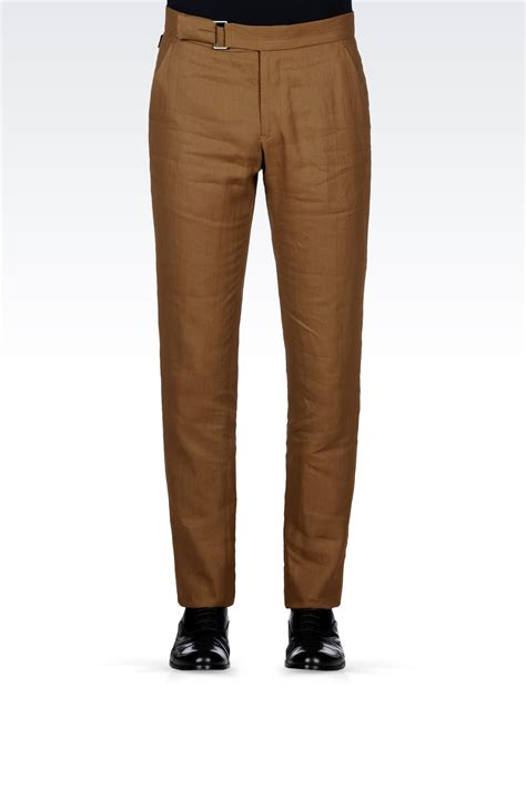 Lyst - Armani Linen Pants with Belted Waist in Brown for Men